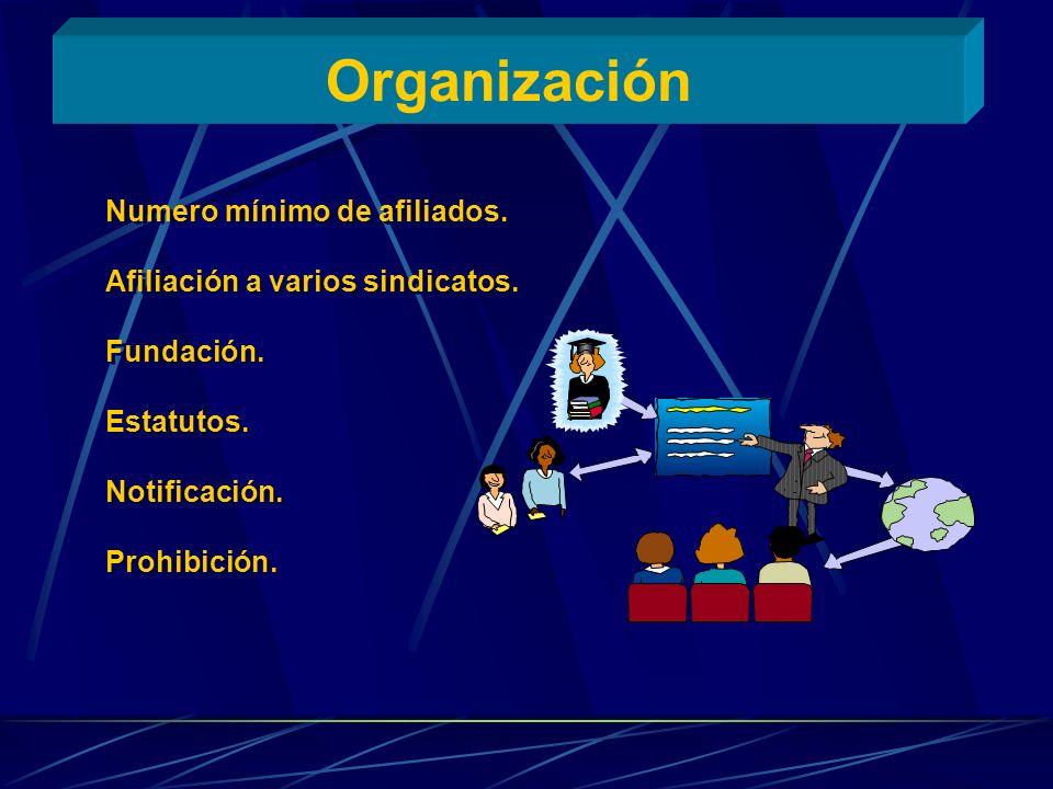 Organización Numero mínimo de afiliados.