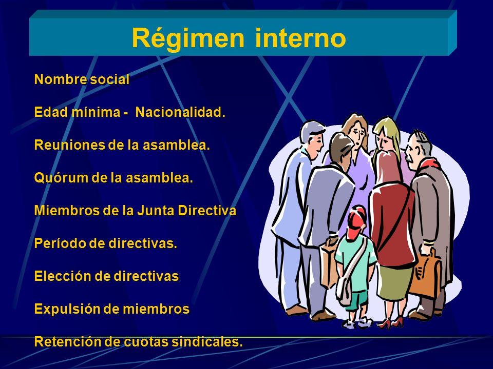 Régimen interno Nombre social Edad mínima - Nacionalidad.
