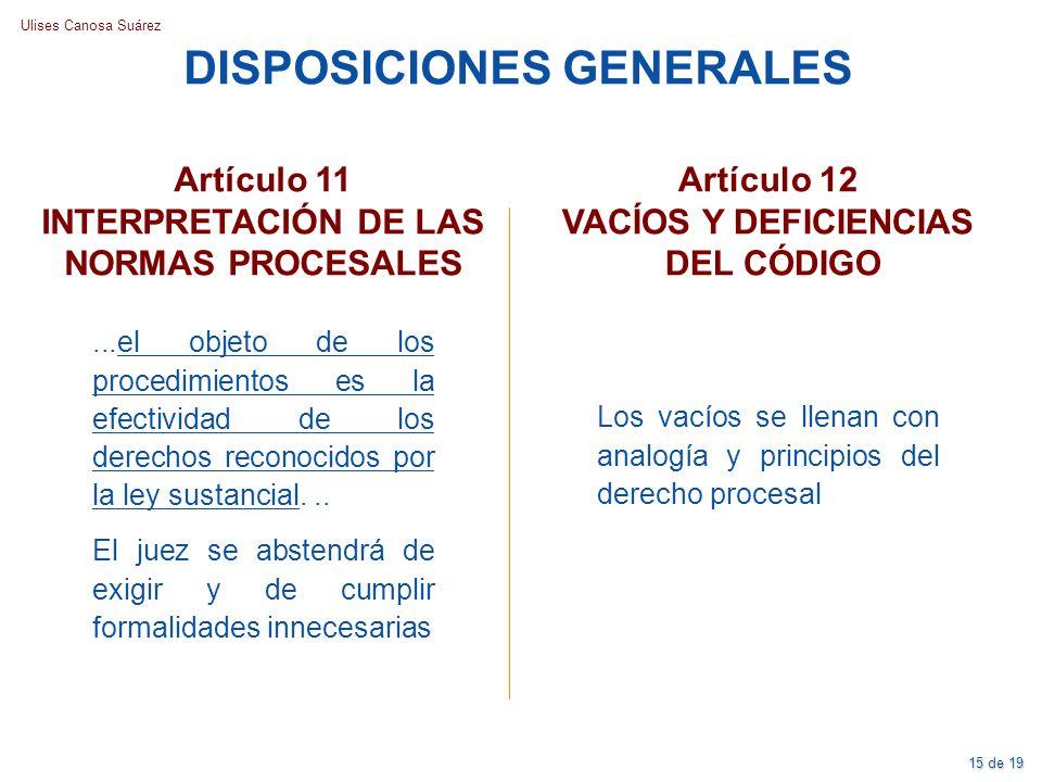 DISPOSICIONES GENERALES INTERPRETACIÓN DE LAS NORMAS PROCESALES