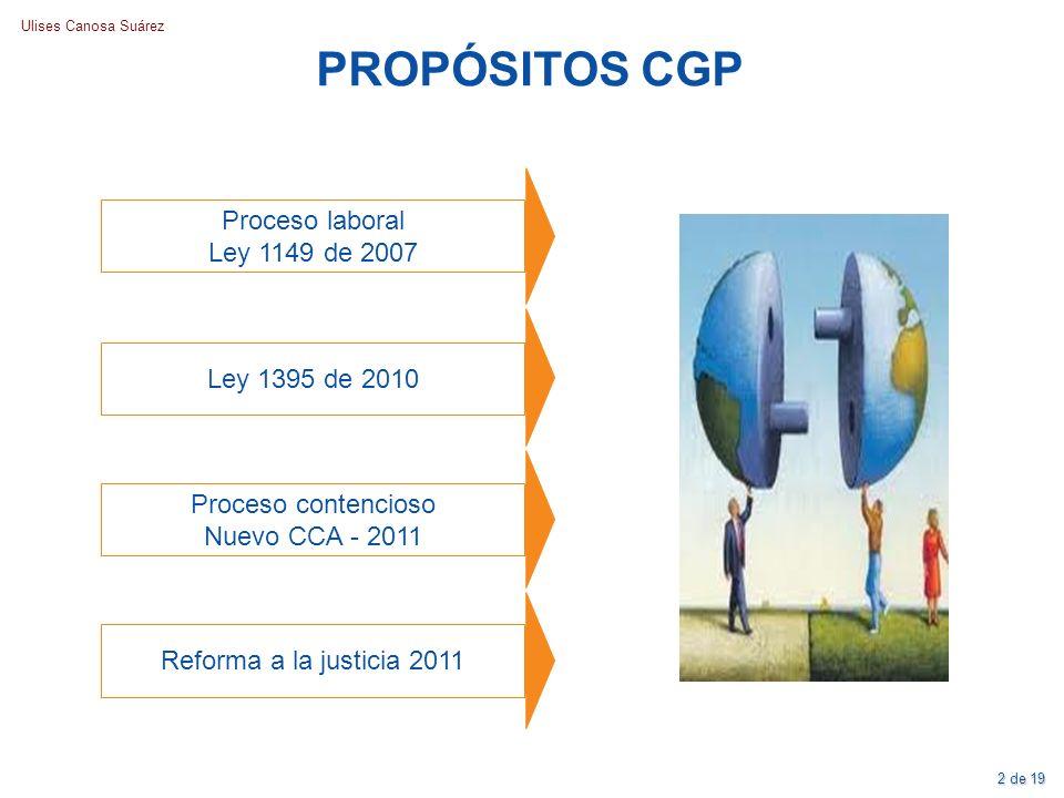 PROPÓSITOS CGP Proceso laboral Ley 1149 de 2007 Ley 1395 de 2010