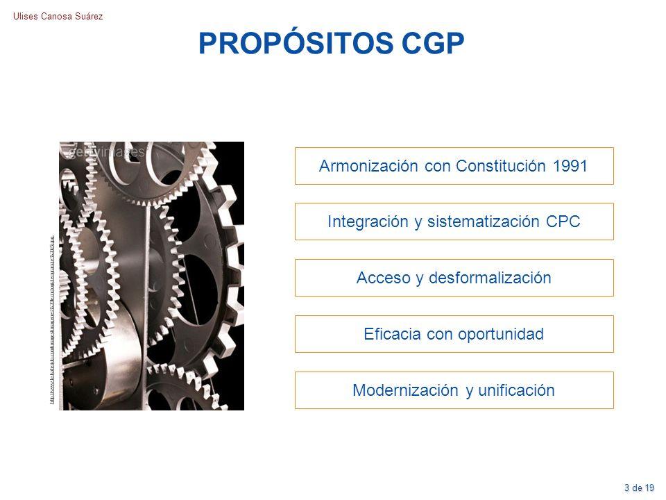 PROPÓSITOS CGP Armonización con Constitución 1991