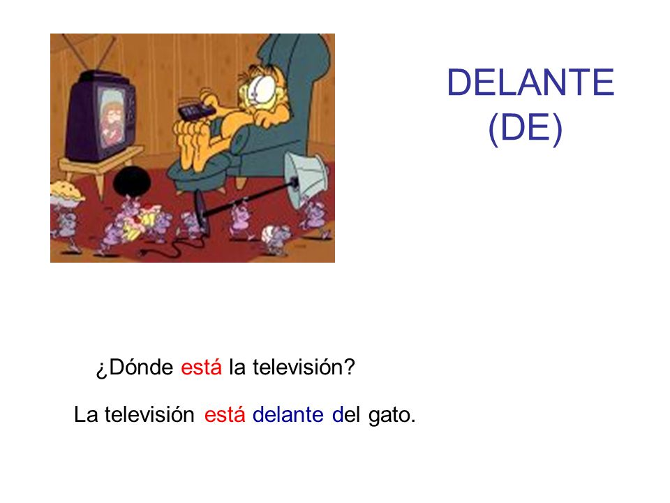 DELANTE (DE) ¿Dónde está la televisión