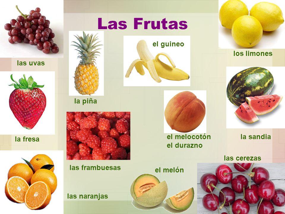 Las Frutas el guineo los limones las uvas la piña