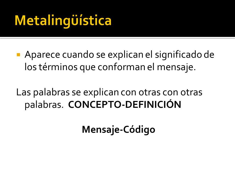 Metalingüística Aparece cuando se explican el significado de los términos que conforman el mensaje.