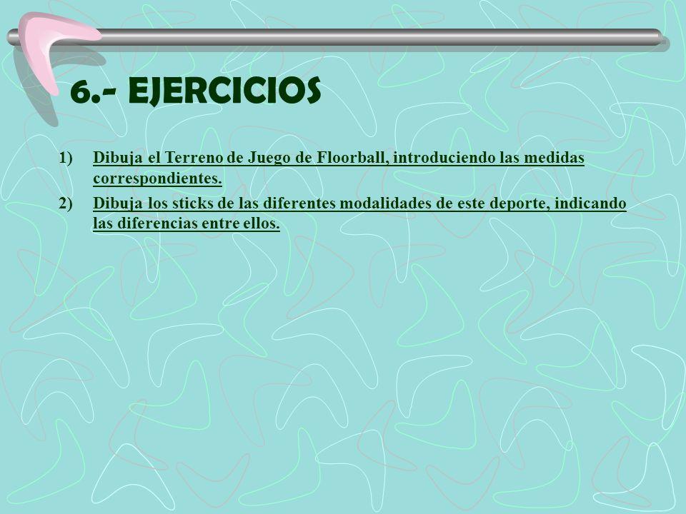 6.- EJERCICIOSDibuja el Terreno de Juego de Floorball, introduciendo las medidas correspondientes.