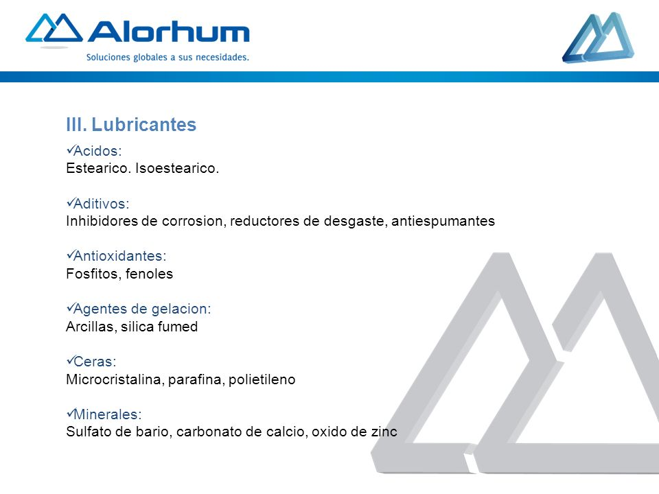 III. Lubricantes Acidos: Estearico. Isoestearico. Aditivos: