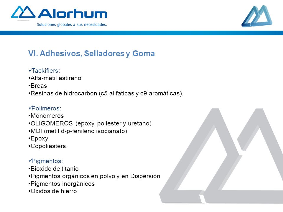 VI. Adhesivos, Selladores y Goma