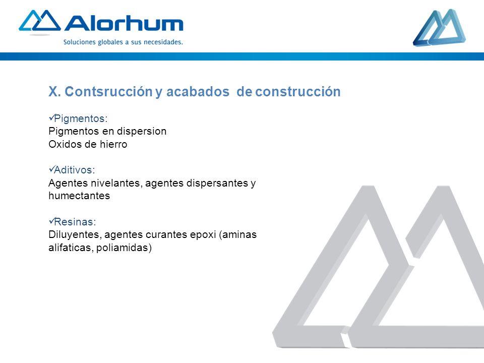X. Contsrucción y acabados de construcción
