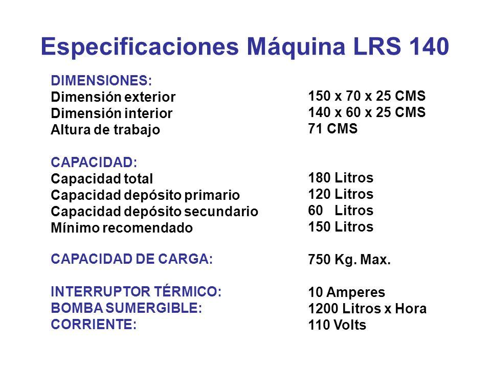 Especificaciones Máquina LRS 140