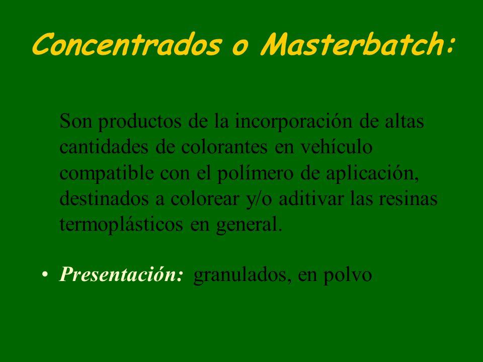 Concentrados o Masterbatch: