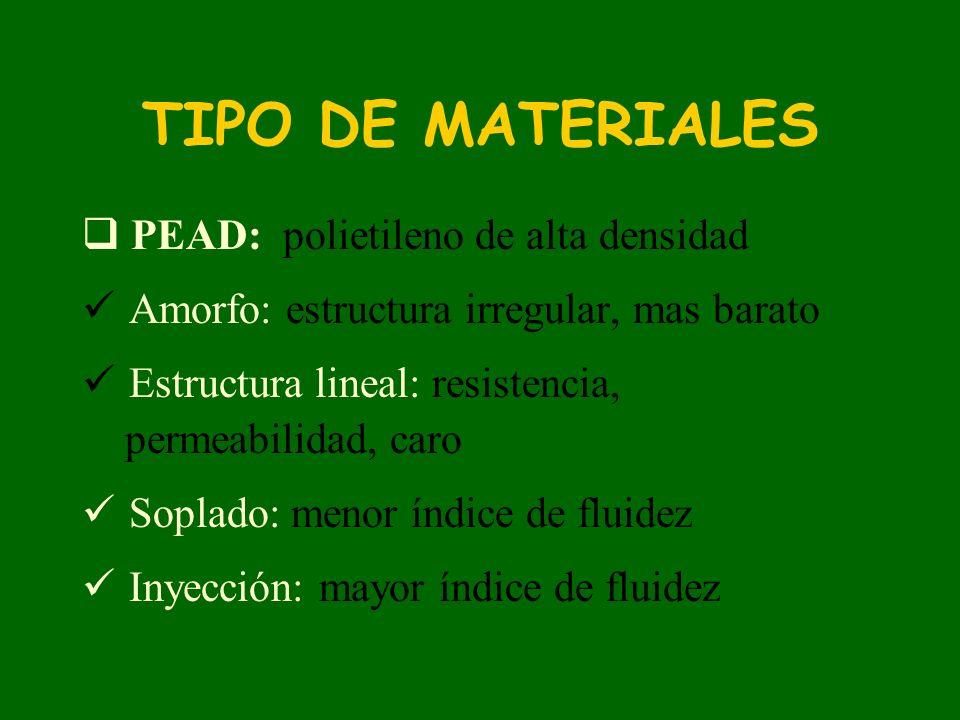 TIPO DE MATERIALES PEAD: polietileno de alta densidad