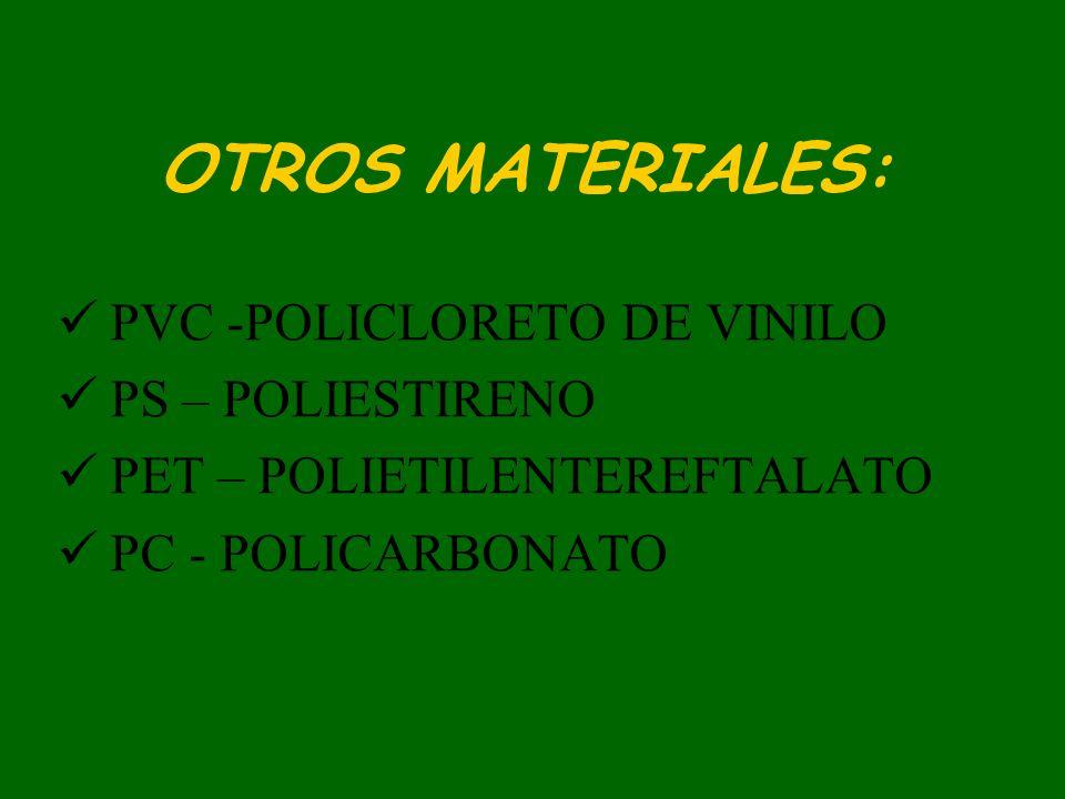 OTROS MATERIALES: PVC -POLICLORETO DE VINILO PS – POLIESTIRENO