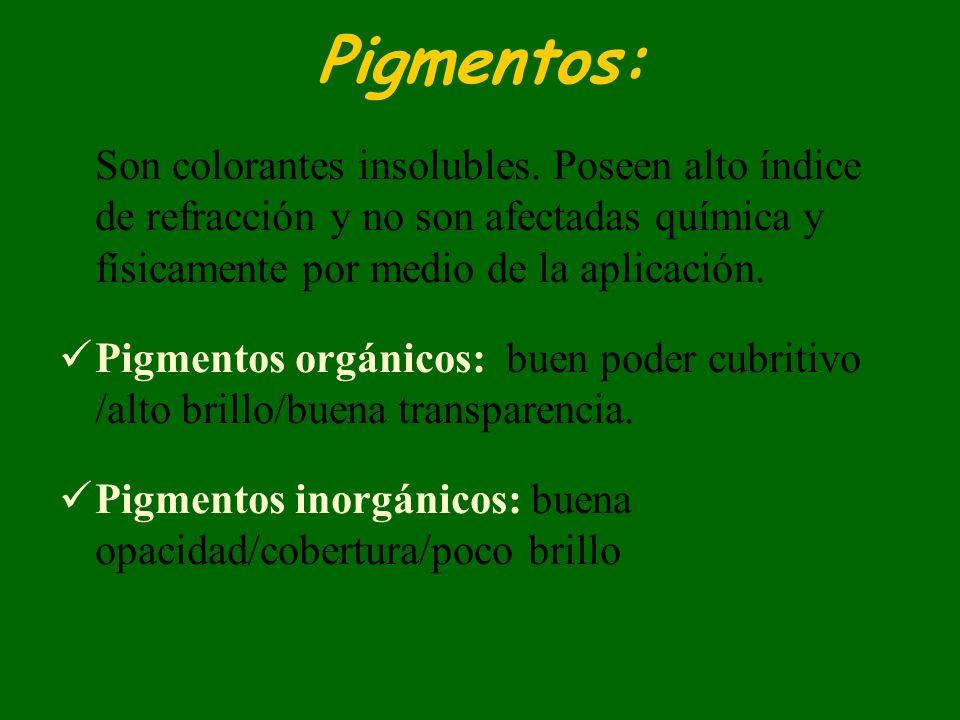 Pigmentos: Son colorantes insolubles. Poseen alto índice de refracción y no son afectadas química y físicamente por medio de la aplicación.
