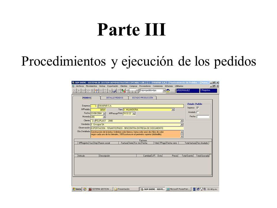 Parte III Procedimientos y ejecución de los pedidos