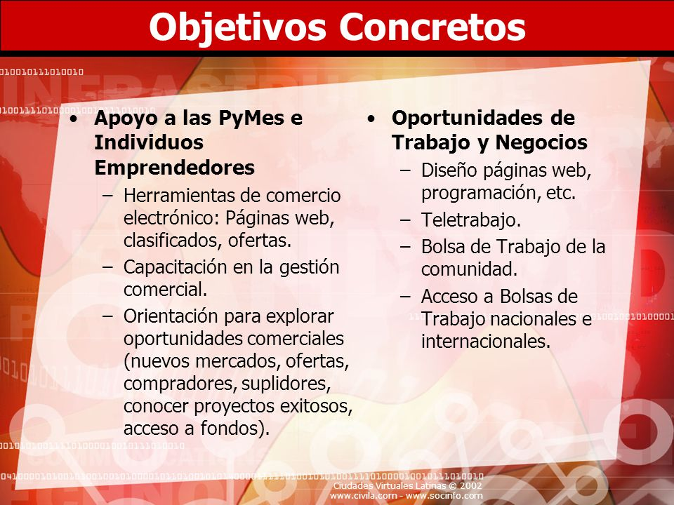 Objetivos Concretos Apoyo a las PyMes e Individuos Emprendedores
