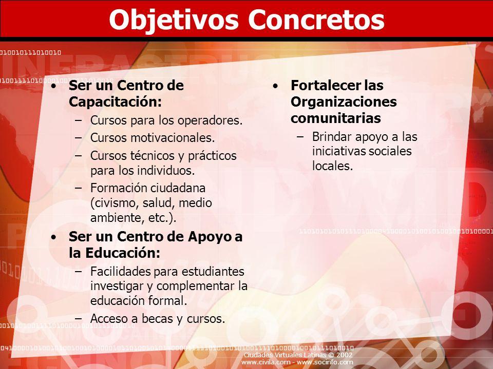 Objetivos Concretos Ser un Centro de Capacitación: