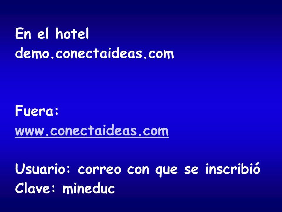 En el hotel demo.conectaideas.com. Fuera: www.conectaideas.com. Usuario: correo con que se inscribió.
