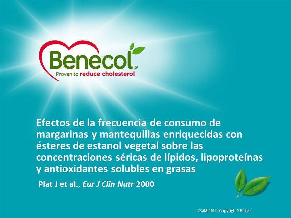 Efectos de la frecuencia de consumo de margarinas y mantequillas enriquecidas con ésteres de estanol vegetal sobre las concentraciones séricas de lípidos, lipoproteínas y antioxidantes solubles en grasas