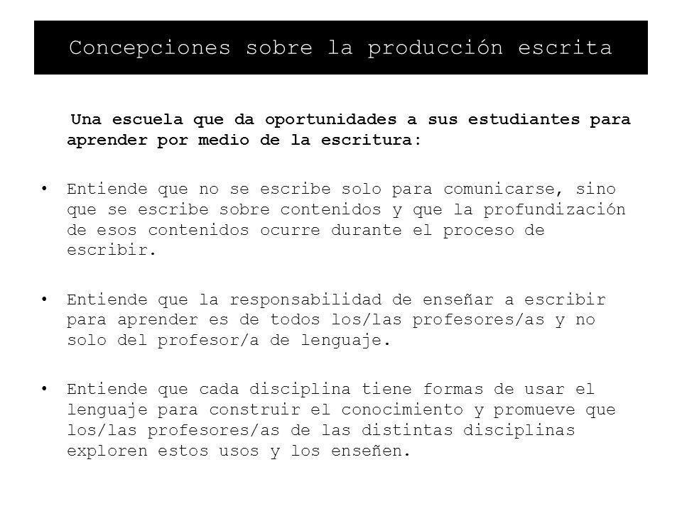 Concepciones sobre la producción escrita