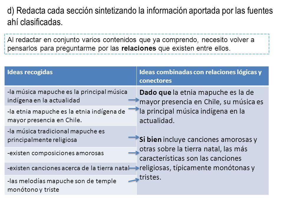 d) Redacta cada sección sintetizando la información aportada por las fuentes ahí clasificadas.