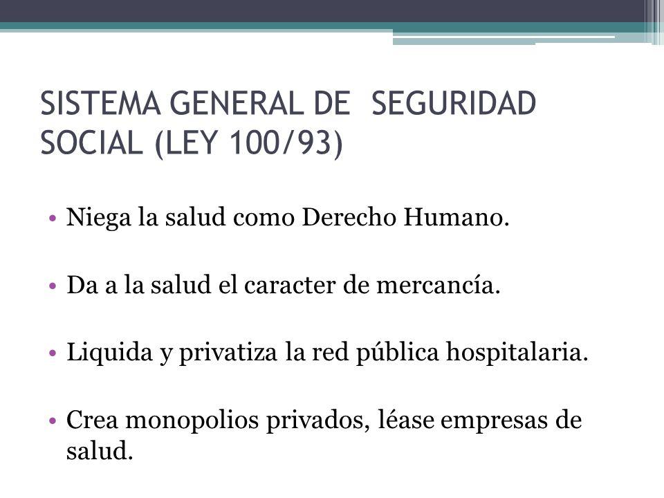 SISTEMA GENERAL DE SEGURIDAD SOCIAL (LEY 100/93)