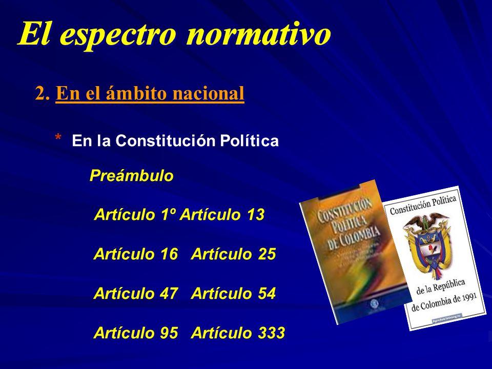 2. En el ámbito nacional * En la Constitución Política