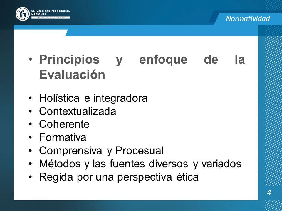 Principios y enfoque de la Evaluación