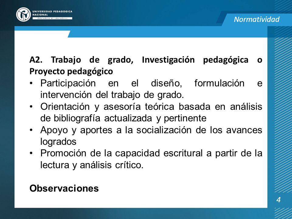 A2. Trabajo de grado, Investigación pedagógica o Proyecto pedagógico