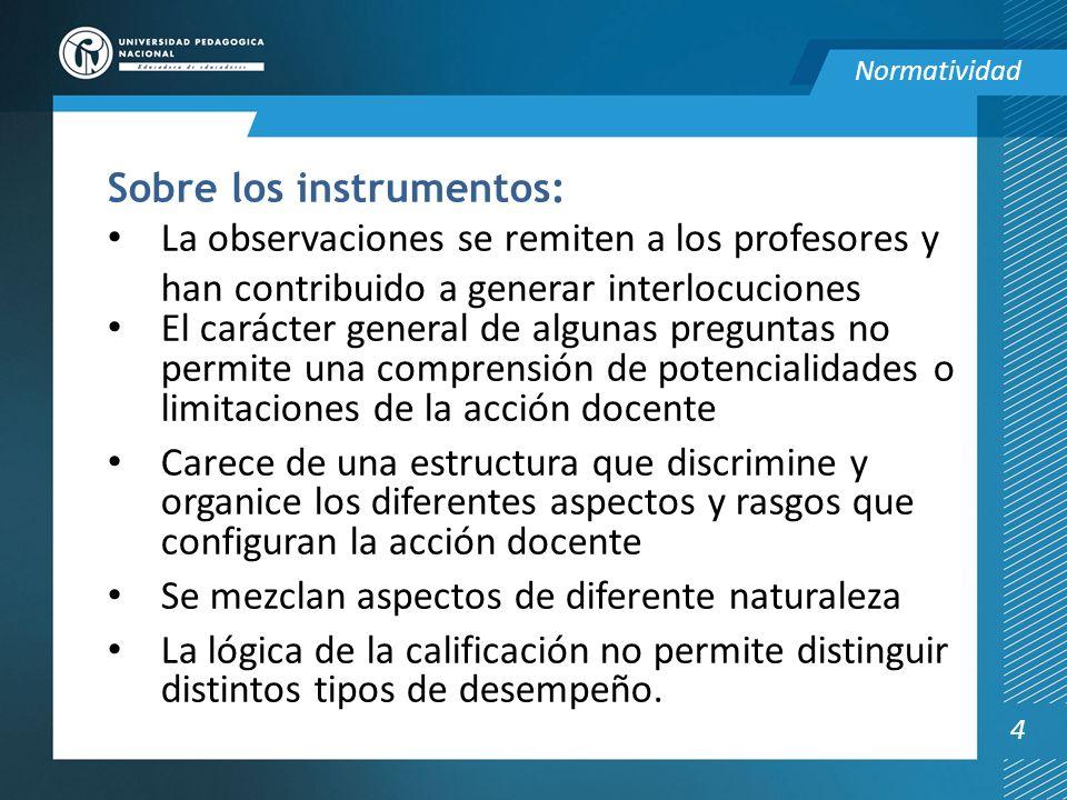 Sobre los instrumentos: