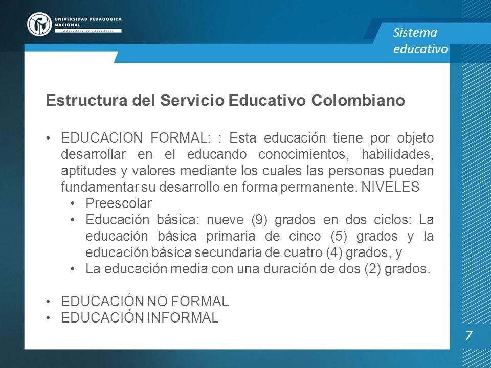 Estructura del Servicio Educativo Colombiano