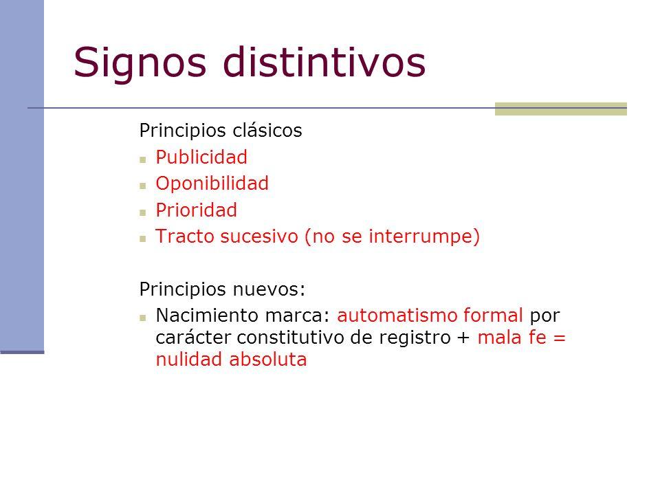 Signos distintivos Principios clásicos Publicidad Oponibilidad
