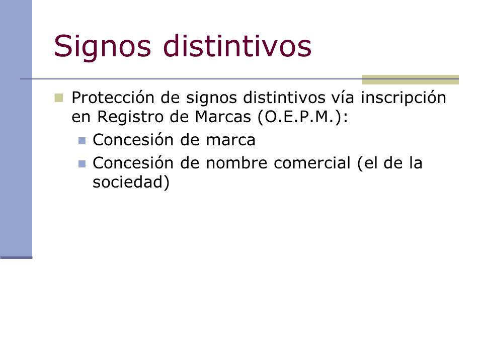 Signos distintivos Protección de signos distintivos vía inscripción en Registro de Marcas (O.E.P.M.):