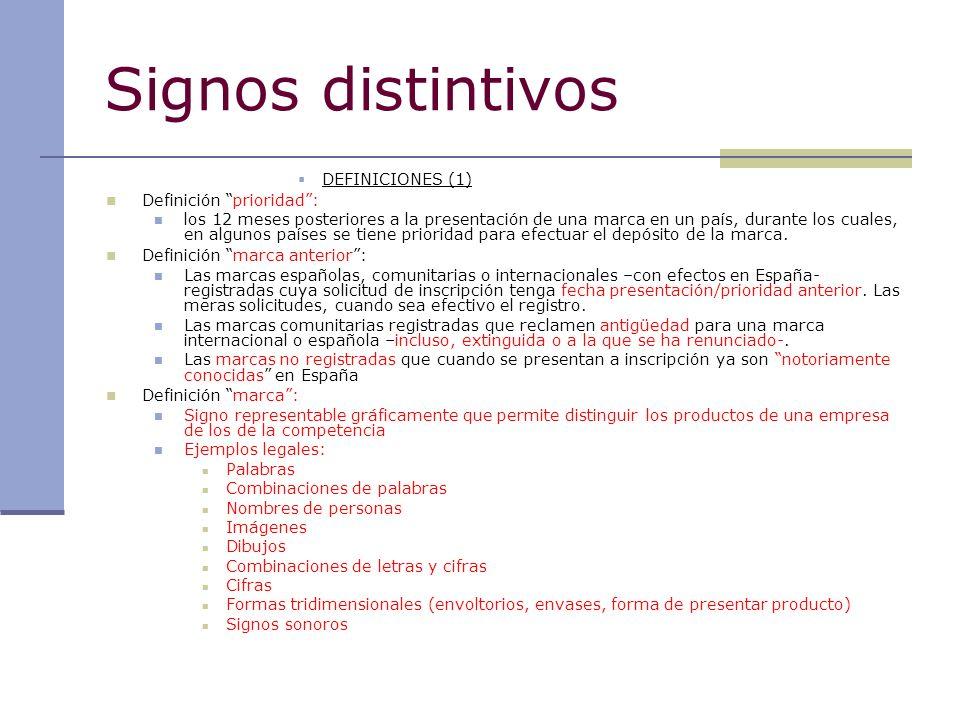 Signos distintivos DEFINICIONES (1) Definición prioridad :