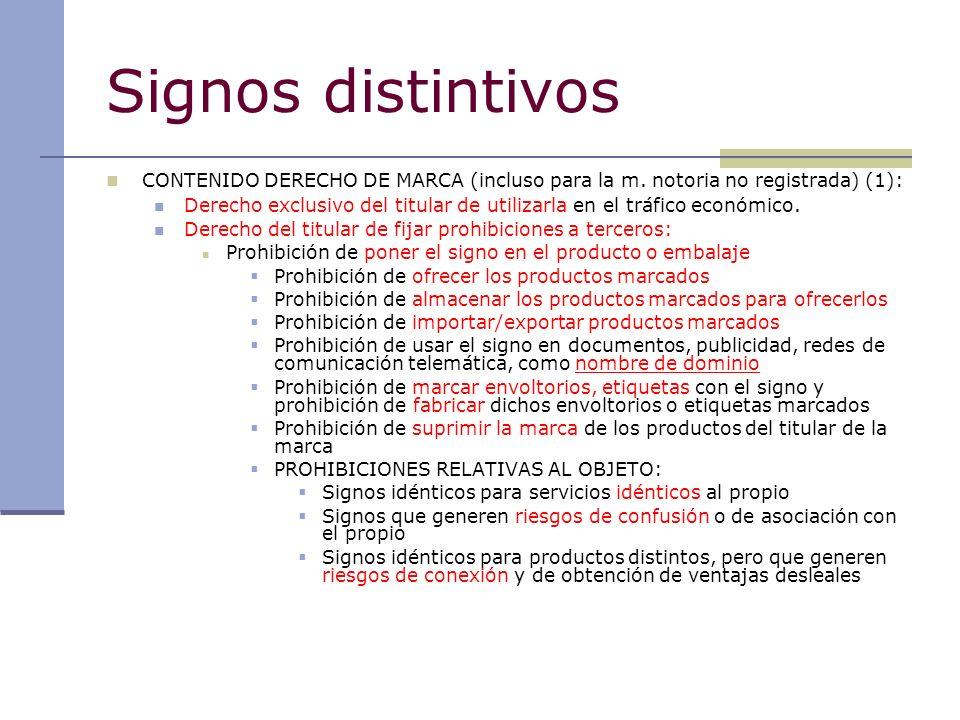 Signos distintivos CONTENIDO DERECHO DE MARCA (incluso para la m. notoria no registrada) (1):