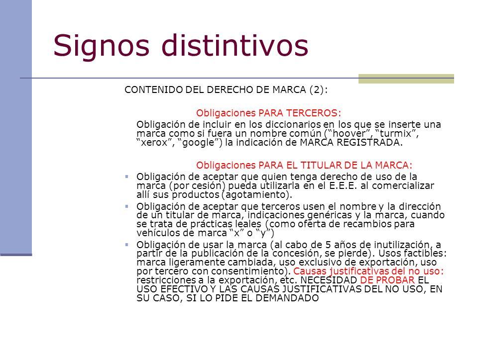 Signos distintivos CONTENIDO DEL DERECHO DE MARCA (2):