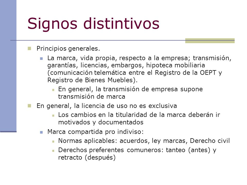 Signos distintivos Principios generales.