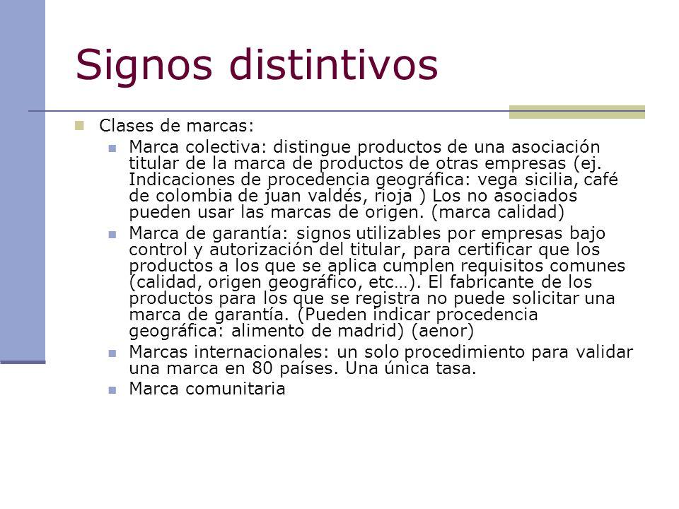Signos distintivos Clases de marcas: