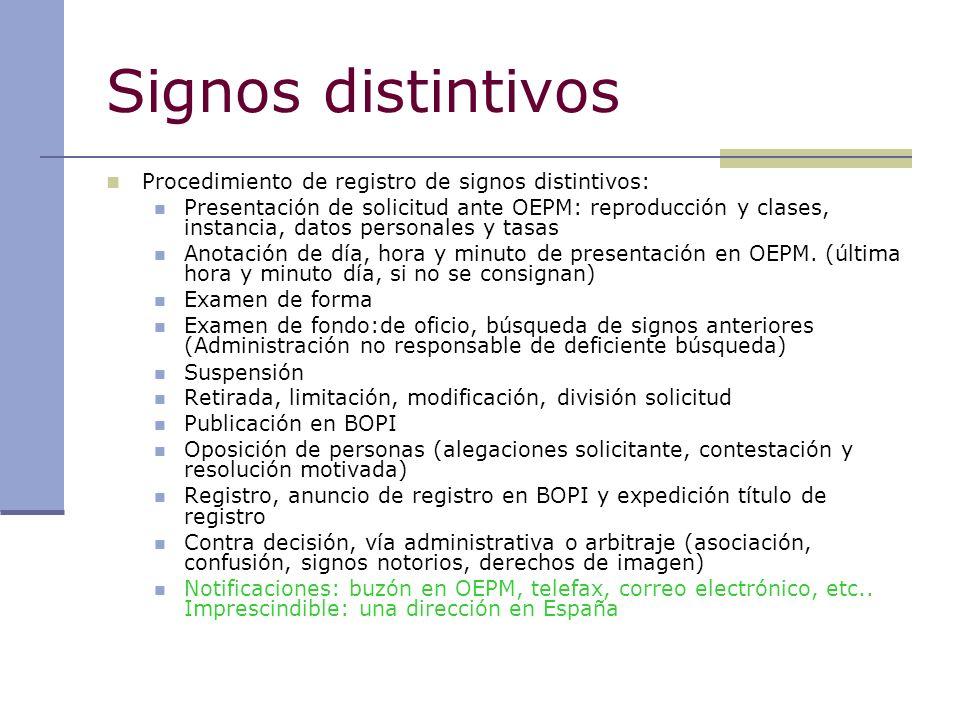 Signos distintivos Procedimiento de registro de signos distintivos: