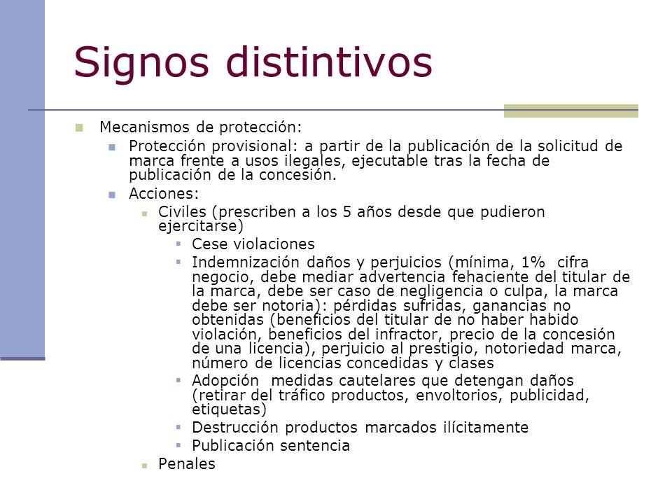 Signos distintivos Mecanismos de protección: