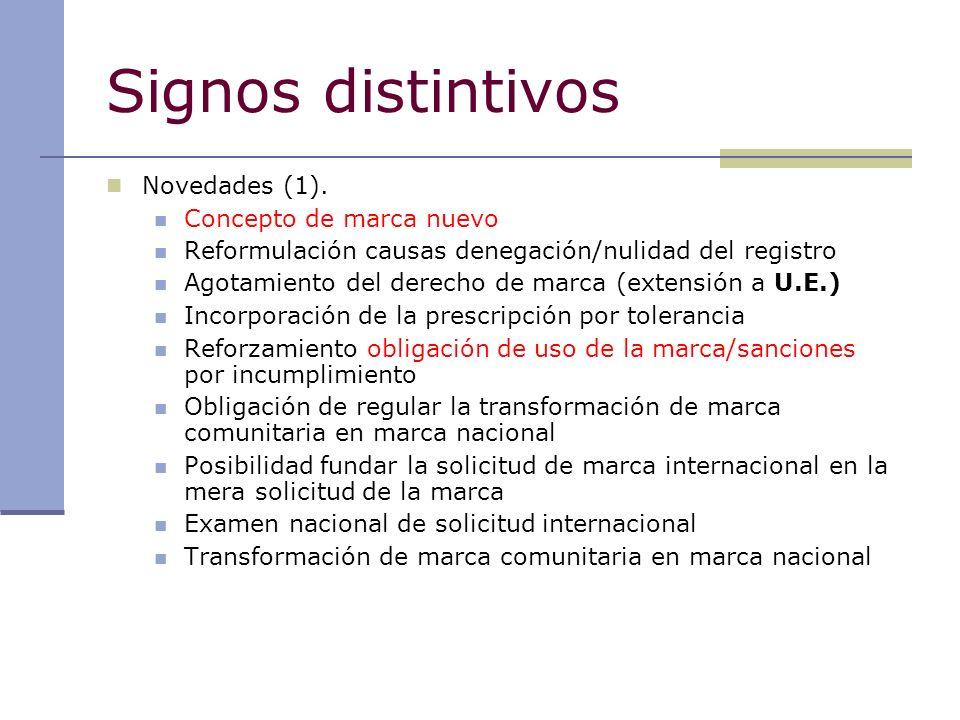 Signos distintivos Novedades (1). Concepto de marca nuevo