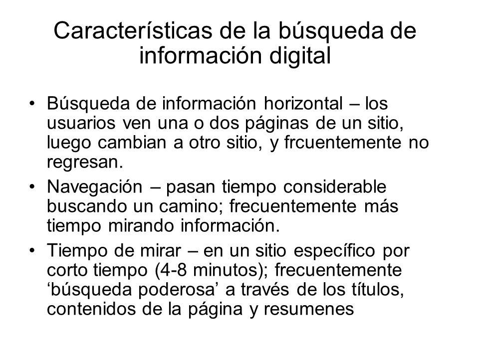 Características de la búsqueda de información digital