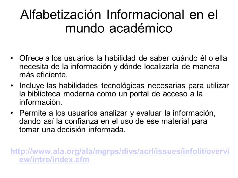 Alfabetización Informacional en el mundo académico