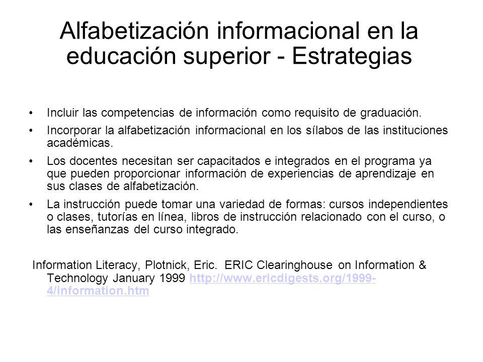 Alfabetización informacional en la educación superior - Estrategias
