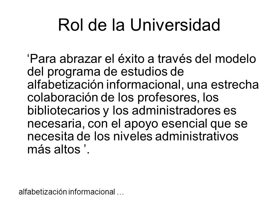 Rol de la Universidad