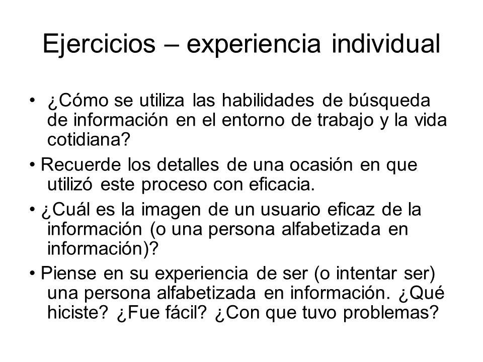Ejercicios – experiencia individual