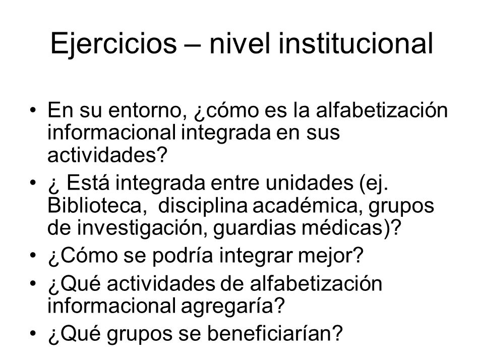 Ejercicios – nivel institucional