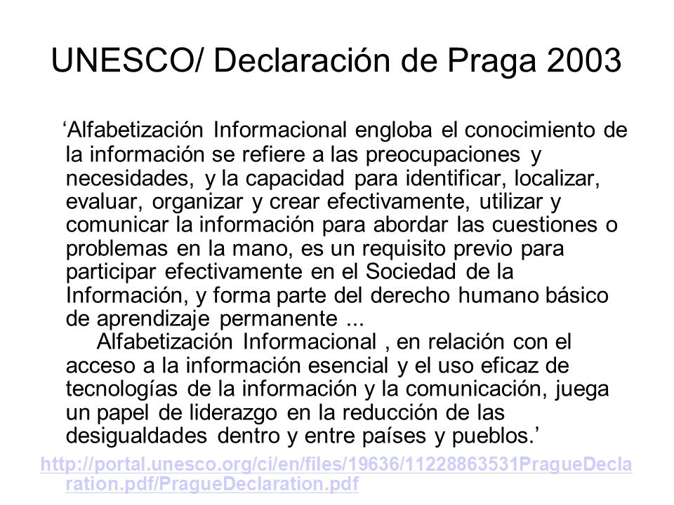 UNESCO/ Declaración de Praga 2003