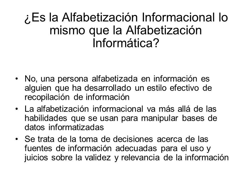 ¿Es la Alfabetización Informacional lo mismo que la Alfabetización Informática