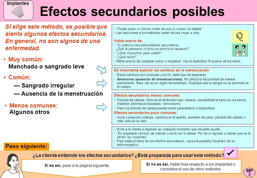 Efectos secundarios posibles