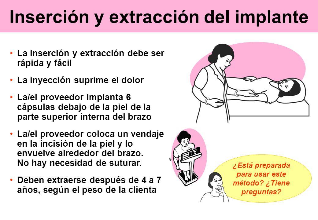 Inserción y extracción del implante